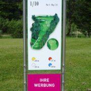 Golfplatzwerbung Abschlagtafel